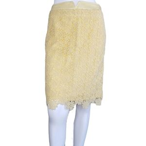 Anthro | Elevenses Yellow Crochet Pencil Skirt 6